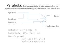 Parábola: Es el lugar geométrico de todos los