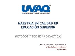 MAESTRÍA EN CALIDAD EN EDUCACIÓN SUPERIOR