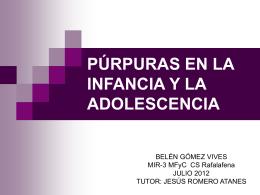 PÚRPURAS EN LA INFANCIA Y LA ADOLESCENCIA