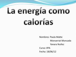 La energía como calorías