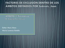 FACTORES DE EXCLUSIÓN DENTRO DE LOS ÁMBITOS