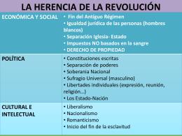 LA HERENCIA DE LA REVOLUCIÓN