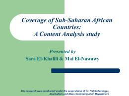 Coverage of Sub-Saharan African Countries: A