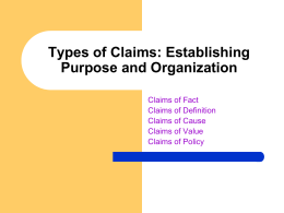 Types of Claims: Establishing Purpose and