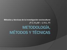Método, metodología, técnicas