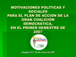 MOTIVACIONES POLÍTICAS Y SOCIALES PARA EL PLAN DE