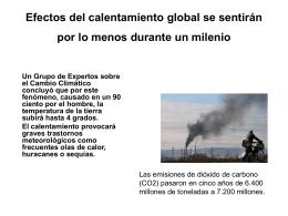 Efectos del calentamiento global se sentirán por