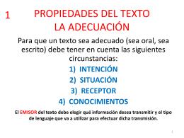 PROPIEDADES DEL TEXTO LA ADECUACIÓN