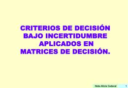 Criterios de decisión en matrices de decisión