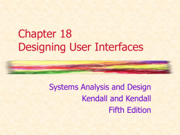 Chapter 18 Designing The User Interface -