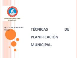 TÉCNICAS DE PLANIFICACIÓN MUNICIPAL.