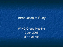 Introduction to Ruby - Web Information Retrieval /