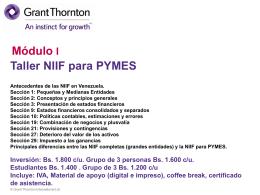 Taller NIIF para PYMES ¿Formas parte de una PYME?