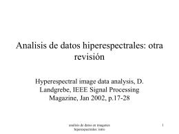 Analisis de datos hiperespectrales: otra revisión
