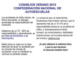 CONSEJOS VERANO 2015 CONFEDERACIÓN NACIONAL DE