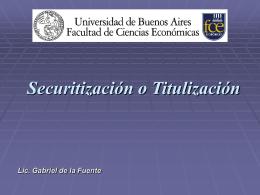 Securitización o Titulización