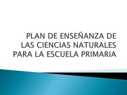 PLAN NACIONAL DE ENSEÑANZA DE LAS CIENCIAS