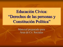 """Educación Cívica: """"Derechos de las personas y"""