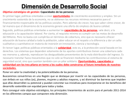 Dimensión de desarrollo social y de capacidades de