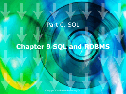 Chapter 9 SQL and RDBMS