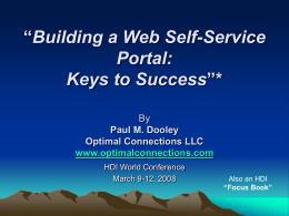 Building a Web Self-Service Portal: Keys to