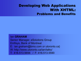 Developing Web Applications With XHTML: Problems