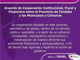 Acuerdo de cooperación institucional, fiscal y