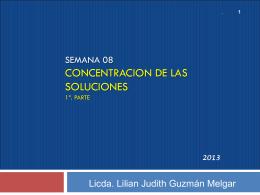 CONCENTRACION DE LAS SOLUCIONES 1ª. Parte
