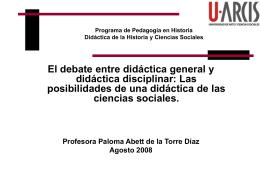 Programa de Pedagogía en Historia Didáctica de la