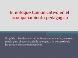 El enfoque Comunicativo propósito: Fundamentar