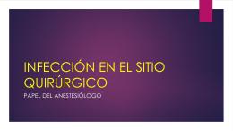 INFECCIÓN EN EL SITIO QUIRÚRGICO