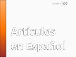Artículos en Español