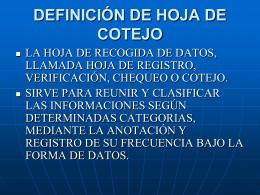 DEFINICIÓN DE HOJA DE COTEJO