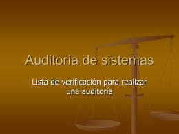 Lista de verificación para una auditoría a la