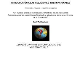 """INTRODUCCIÓN A LAS RELACIONES INTERNACIONALES """"En"""