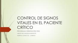 CONTROL DE SIGNOS VITALES EN EL PACIENTE CRÍTICO