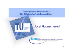 Operations Research 1 - IWM TUWIEN