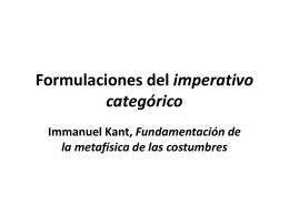 Formulaciones del imperativo categórico