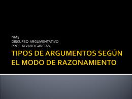 TIPOS DE ARGUMENTOS SEGÚN EL MODO DE RAZONANMIENTO