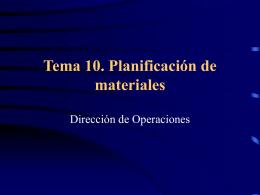 Tema 10. Planificación de materiales