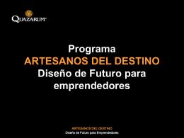 Programa ARTESANOS DEL DESTINO Diseño de Futuro