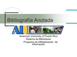 Bibliografía Anotada - Sistema de Bibliotecas