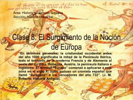 Clase 8: El Surgimiento de la Noción de Europa