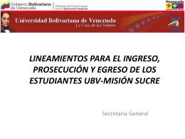 LINEAMIENTOS PARA EL INGRESO, PROSECUCIÓN Y EGRESO