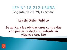 LEY Nº 18.212 USURA Vigente desde 29/12/2007 Ley