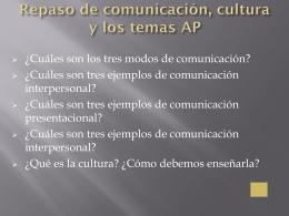 Repaso de comunicación, cultura y los temas AP