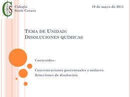 Tema de Unidad: Disoluciones químicas