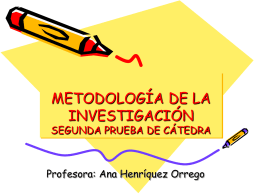 METODOLOGÍA DE LA INVESTIGACIÓN SEGUNDA PRUEBA DE