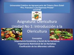 Asignatura: Olericultura Unidad No 1: Introducción