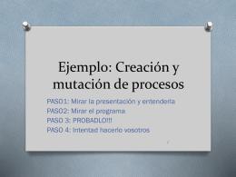 Ejemplo: Creación y mutación de procesos